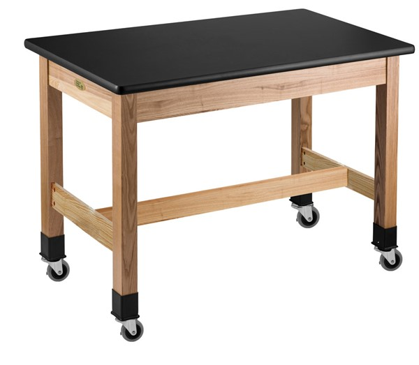 NPS Ash Black HPL Top Science Lab Table with Casters - 42x60x30 NPS-SLT1-4260HC