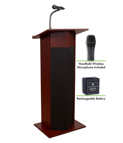 NPS Power Plus Mahogany Lectern with Rechargeable Battery and Wireless Handheld Mic NPS-M111PLS-MY-LWM-5