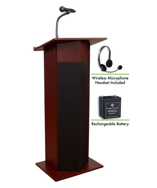 NPS Power Plus Lecterns with Rechargeable Battery and Wireless Headset Mic NPS-M111PLS-LWM-7-DESK-VAR