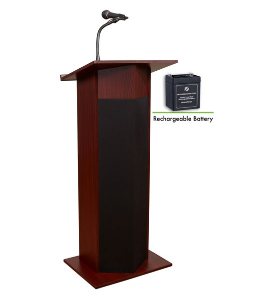 NPS Power Plus Mahogany Oklahoma Sound Lectern with Rechargeable Battery NPS-M111PLS-MY
