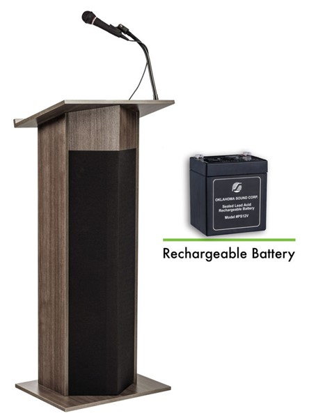 NPS Power Plus Ribbonwood Oklahoma Sound Lectern with Rechargeable Battery NPS-M111PLS-RW