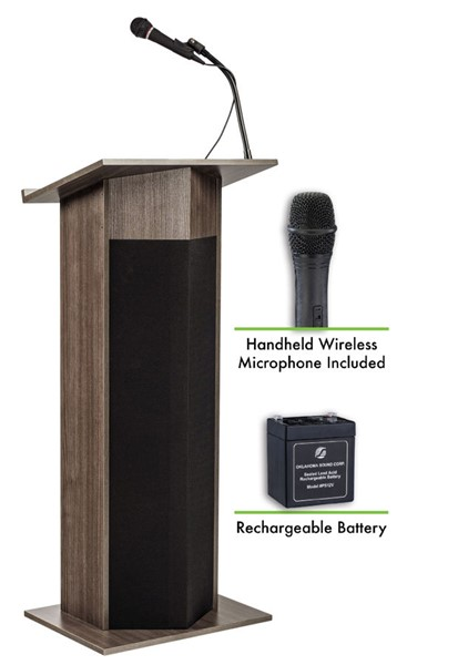 NPS Power Plus Ribbonwood Lectern with Rechargeable Battery and Wireless Handheld Mic NPS-M111PLS-RW-LWM-5