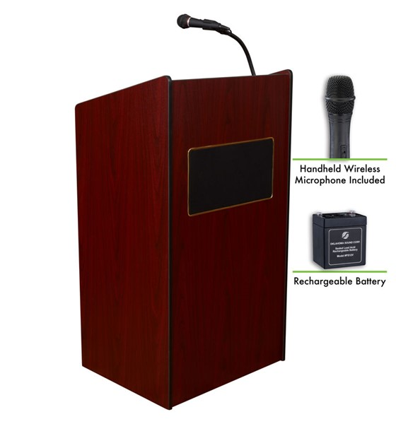 NPS Aristocrat Mahogany Lectern and Rechargeable Battery with Wireless Handheld Mic NPS-M6010-MY-LWM-5
