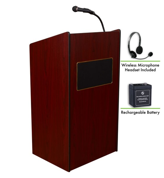 NPS Aristocrat Mahogany Lectern and Rechargeable Battery with Wireless Headset Mic NPS-M6010-MY-LWM-7