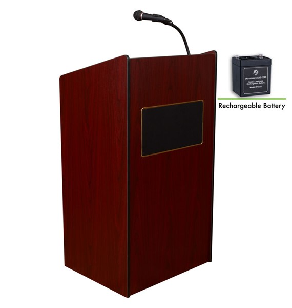 NPS Aristocrat Mahogany Oklahoma Sound Lectern with Rechargeable Battery NPS-M6010-MY