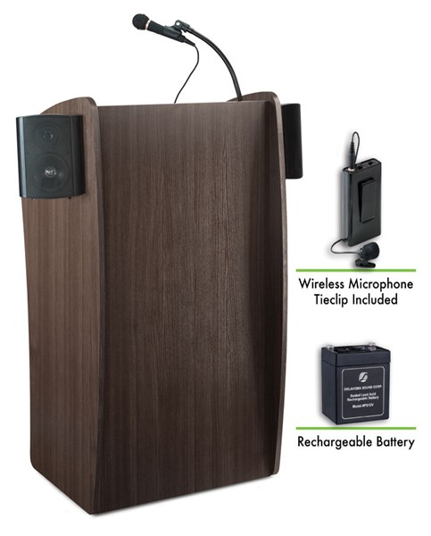NPS Vision Sound Lectern with Rechargeable Battery and Wireless Tie Clip Lavalier Mic NPS-M611S-RW-LWM-6