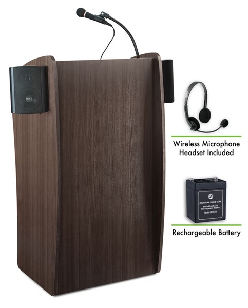 NPS Vision Ribbonwood Sound Lectern with Rechargeable Battery and Wireless Headset Mic NPS-M611S-RW-LWM-7