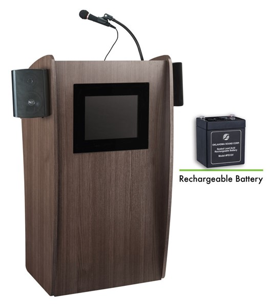 NPS Vision Ribbonwood Screen Lectern with Sound and Rechargeable Battery NPS-M612S-RW