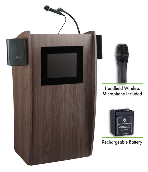 NPS Vision Sound Screen Lectern with Rechargeable Battery and Wireless Handheld Mic NPS-M612S-RW-LWM-5