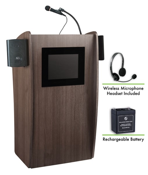 NPS Vision Sound Screen Lectern with Rechargeable Battery and Wireless Headset Mic NPS-M612S-RW-LWM-7