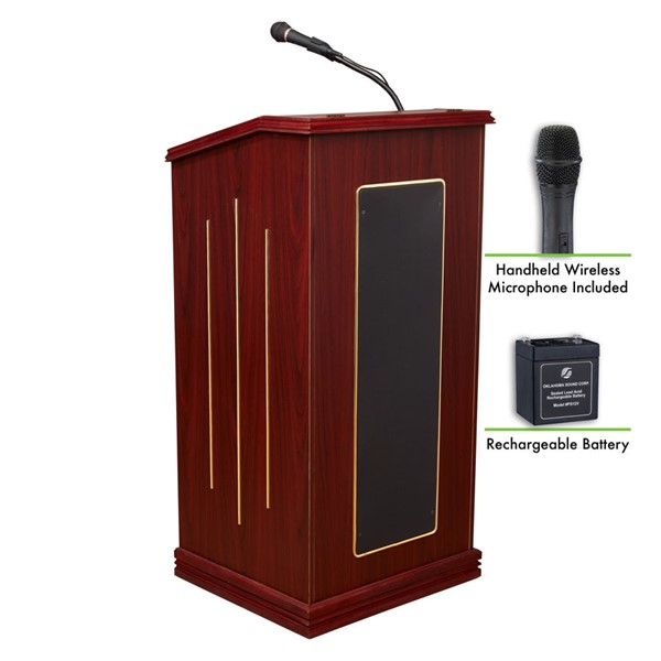 NPS Prestige Sound Lectern with Rechargeable Battery and Wireless Handheld Mic NPS-M711-MY-LWM-5