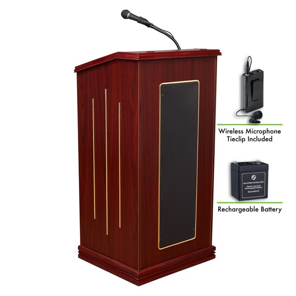 NPS Prestige Sound Lectern with Rechargeable Battery and Wireless Tie Clip Lavalier Mic NPS-M711-MY-LWM-6
