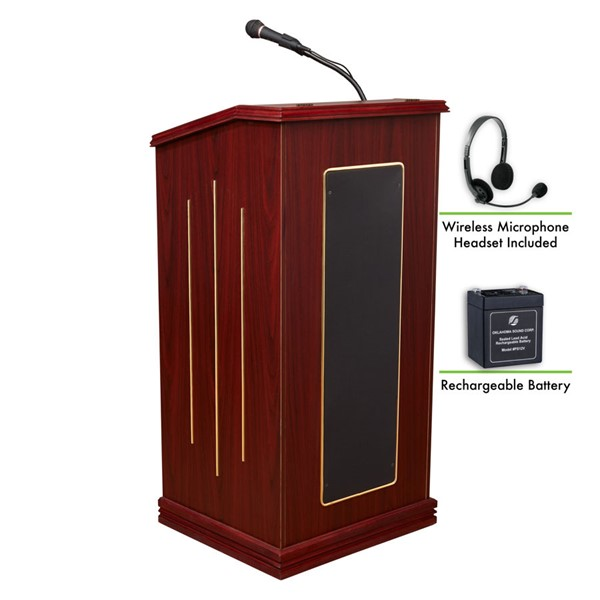 NPS Prestige Sound Lectern with Rechargeable Battery and Wireless Headset Mic NPS-M711-MY-LWM-7