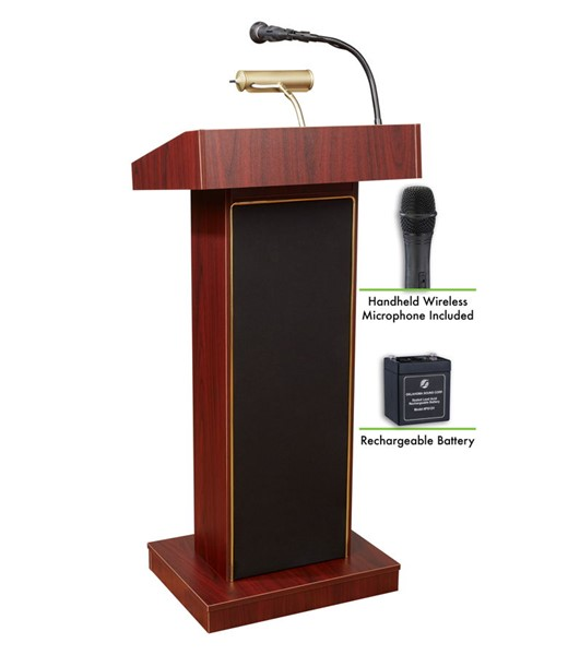 NPS Orator Mahogany Lectern with Rechargeable Battery and Wireless Handheld Mic NPS-M800X-MY-LWM-5