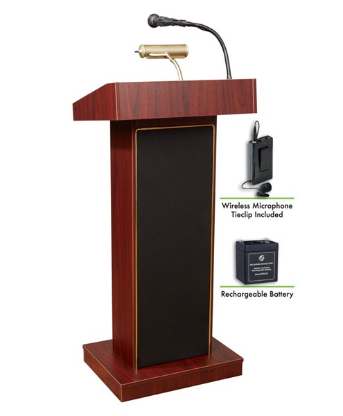 NPS Orator Lectern with Rechargeable Battery and Wireless Tie Clip Lavalier Mic NPS-M800X-MY-LWM-6