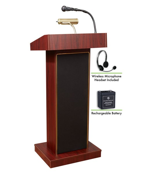 NPS Orator Lectern with Rechargeable Battery and Wireless Headset Mic NPS-M800X-MY-LWM-7