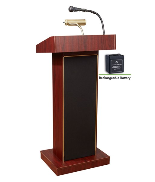 NPS Orator Mahogany Oklahoma Sound Lectern with Rechargeable Battery NPS-M800X-MY