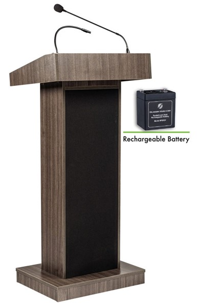 NPS Orator Ribbonwood Oklahoma Sound Lectern with Rechargeable Battery NPS-M800X-RW