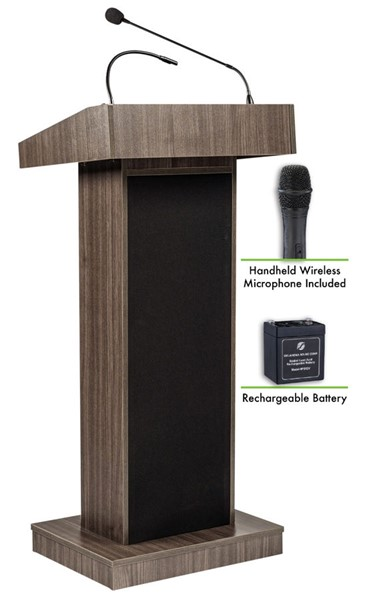 NPS Orator Lectern with Rechargeable Battery and Wireless Handheld Mic NPS-M800X-RW-LWM-5