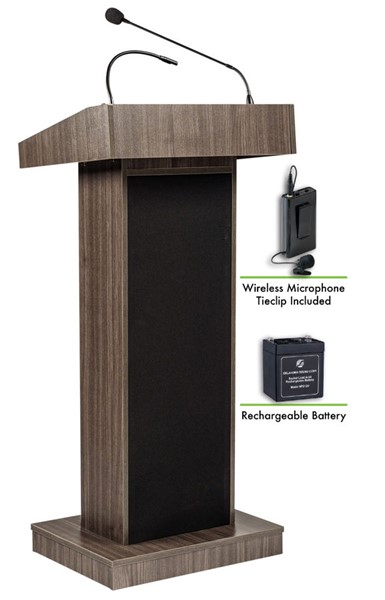 NPS Orator Ribbonwood Lectern with Rechargeable Battery and Wireless Tie Clip Lavalier Mic NPS-M800X-RW-LWM-6