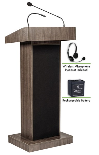 NPS Orator Ribbonwood Lectern with Rechargeable Battery and Wireless Headset Mic NPS-M800X-RW-LWM-7