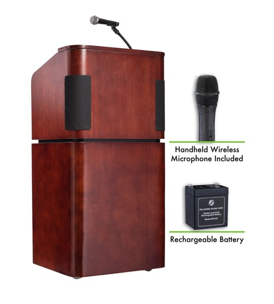 NPS Walnut Combo Sound Lectern with Rechargeable Battery and Wireless Handheld Mic NPS-M950-901-MY-WT-LWM-5