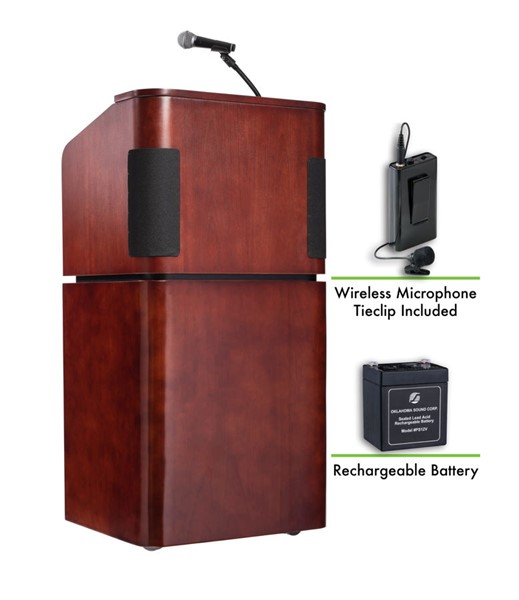 NPS Walnut Combo Sound Lectern with Rechargeable Battery and Wireless Tie Clip Lavalier Mic NPS-M950-901-MY-WT-LWM-6