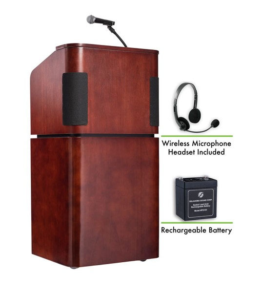 NPS Walnut Combo Sound Lectern with Rechargeable Battery and Wireless Headset Mic NPS-M950-901-MY-WT-LWM-7