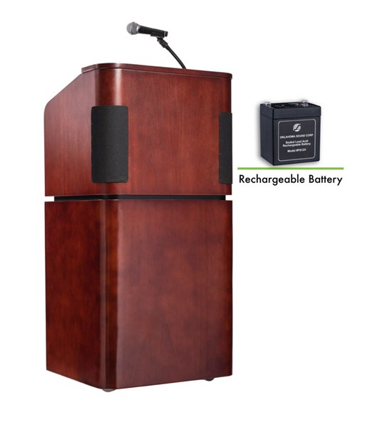 NPS Mahogany Walnut Oklahoma Table Lectern with Sound and Rechargeable Battery NPS-M950-901-MY-WT