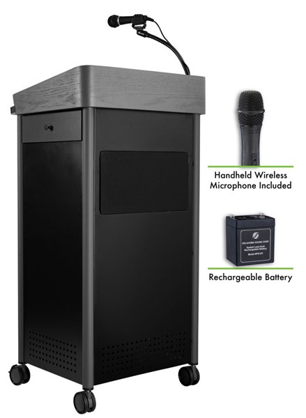 NPS GSL Charcoal Lectern with Sound Rechargeable Battery and Wireless Handheld Mic NPS-MGSL-S-LWM-5