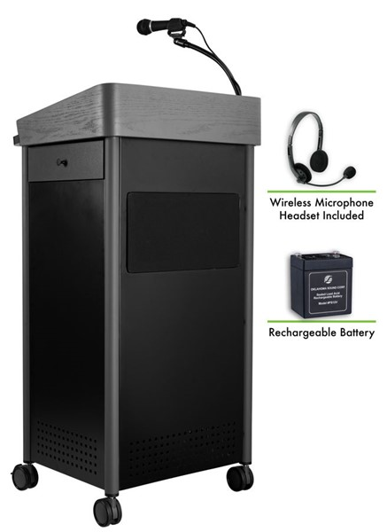 NPS GSL Charcoal Lectern with Sound Rechargeable Battery and Wireless Headset Mic NPS-MGSL-S-LWM-7