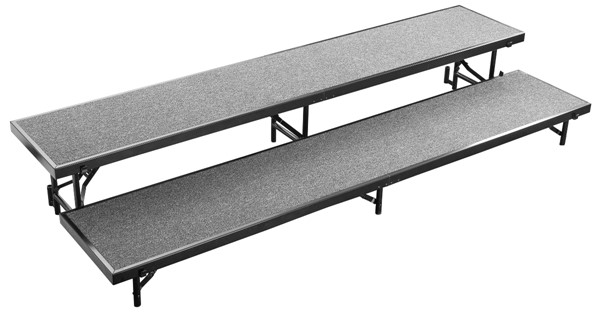 NPS Black Grey 16 Inch 2 Level Straight Standing Choral Riser NPS-RS2LC-02