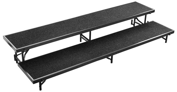 NPS Black 16 Inch 2 Level Straight Standing Choral Riser NPS-RS2LC-10