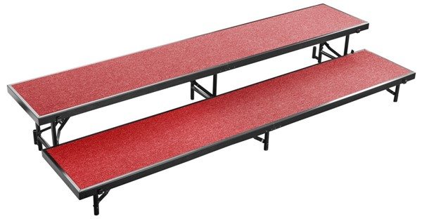 NPS Black Red 16 Inch 2 Level Straight Standing Choral Riser NPS-RS2LC-40