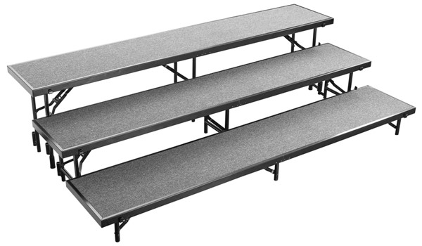 NPS Black Grey 3 Level Straight Standing Choral Riser NPS-RS3LC-02