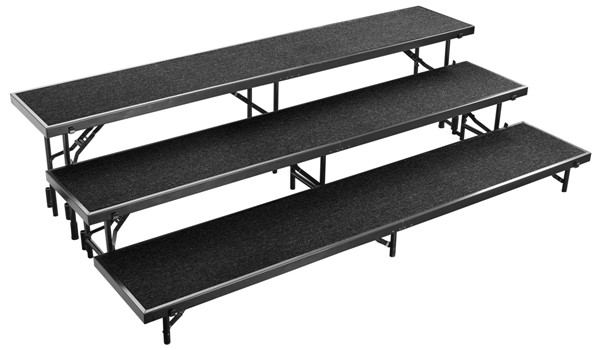 NPS Black 3 Level Straight Standing Choral Riser NPS-RS3LC-10