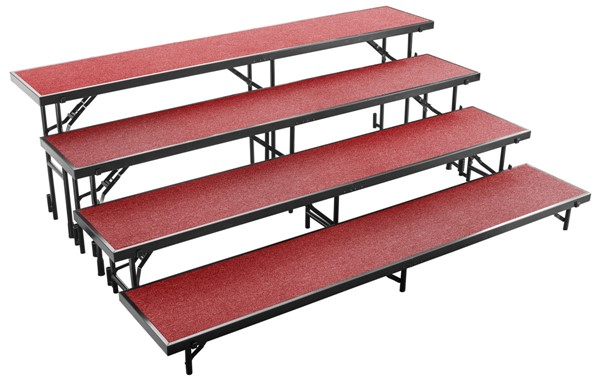 NPS Black Red 4 Level Straight Standing Choral Riser NPS-RS4LC-40