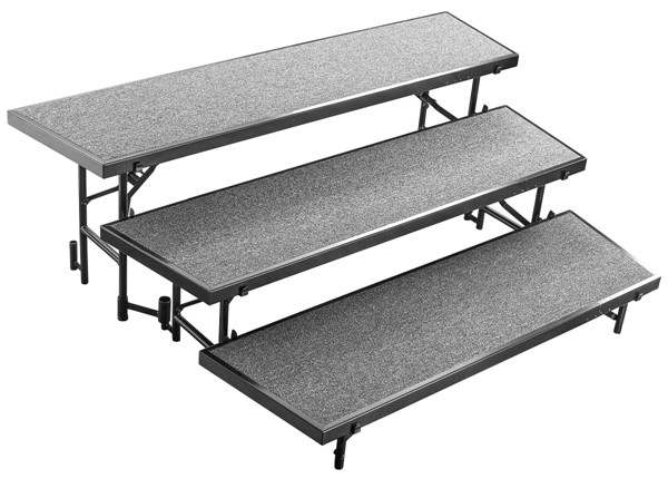 NPS 3 Level Tapered Standing Choral Risers NPS-RT3LC-DR-RSR-VAR