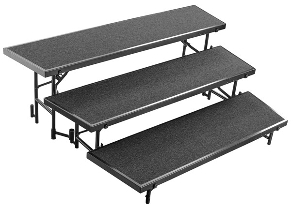 NPS Black 3 Level Tapered Standing Choral Riser NPS-RT3LC-10