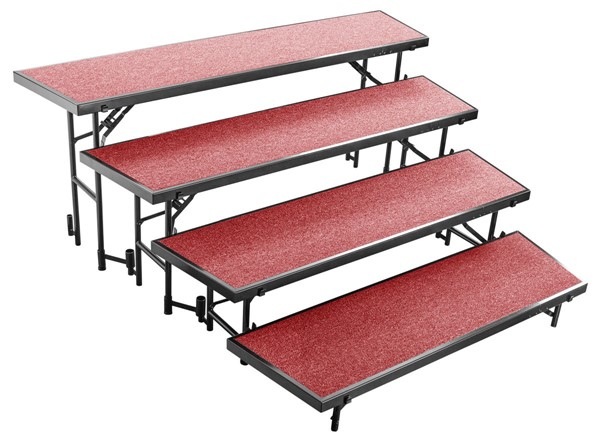 NPS Black Red 4 Level Tapered Standing Choral Riser NPS-RT4LC-40