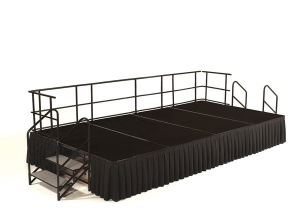 NPS Black Wood 24 Inch Carpet Stage with Box Pleat Skirting NPS-SG482404C-10-SB10