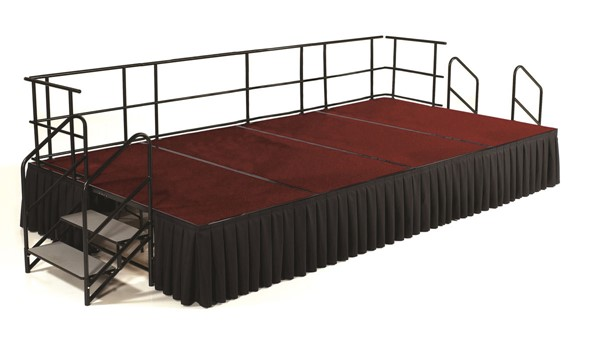 NPS Black Red 24 Inch Carpet Stage with Box Pleat Skirting NPS-SG362404C-40-SB10