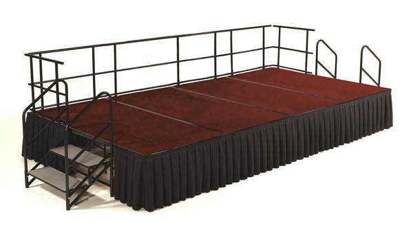 NPS Black Red Wood 24 Inch Carpet Stage with Box Pleat Skirting NPS-SG482404C-40-SB10