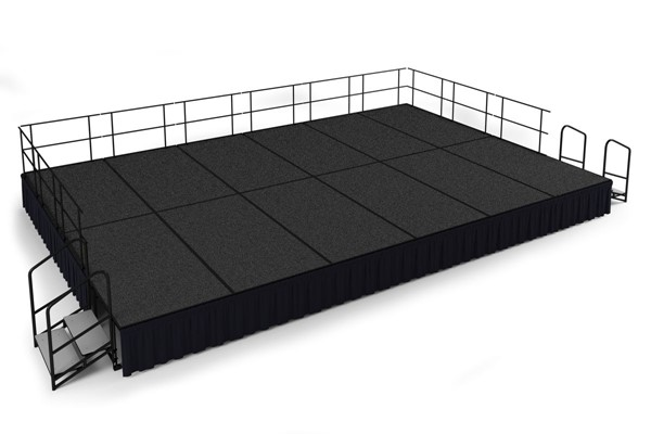 NPS Black Grey Wood 24 Inch Carpet Stage with Shirred Pleat Skirting NPS-SG482412C-02-SS10
