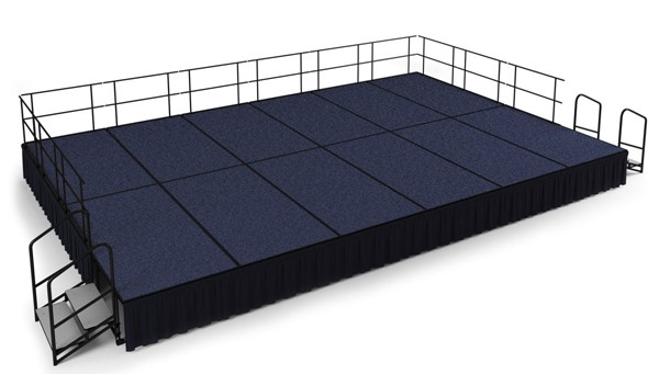 NPS Black Blue Wood 24 Inch Carpet Stage with Shirred Pleat Skirting NPS-SG482412C-04-SS10