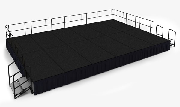NPS Black Wood 24 Inch Carpet Stage with Shirred Pleat Skirting NPS-SG482412C-10-SS10