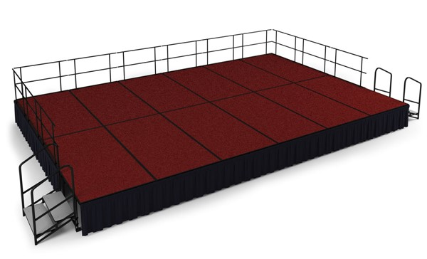 NPS Black Red Wood 24 Inch Carpet Stage with Shirred Pleat Skirting NPS-SG482412C-40-SS10