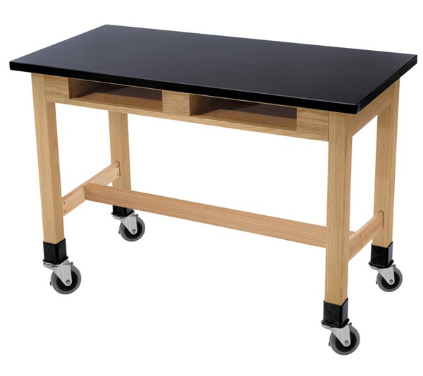 NPS Ash Black Phenolic Top Lab Table with Compartments and Casters - 24x60x36 NPS-SLT2-2460PBC