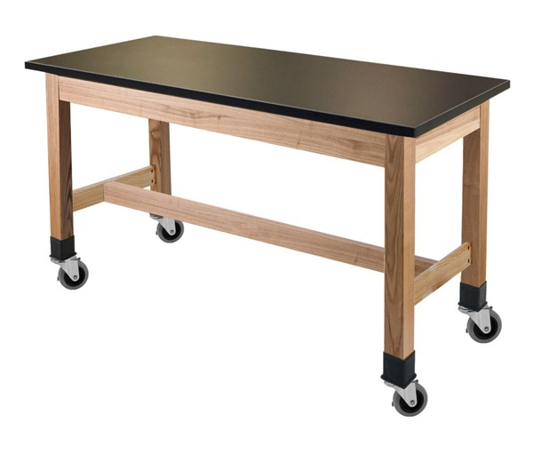NPS Ash Black Phenolic Top Science Lab Table with Casters - 24x72x30 NPS-SLT1-2472PC