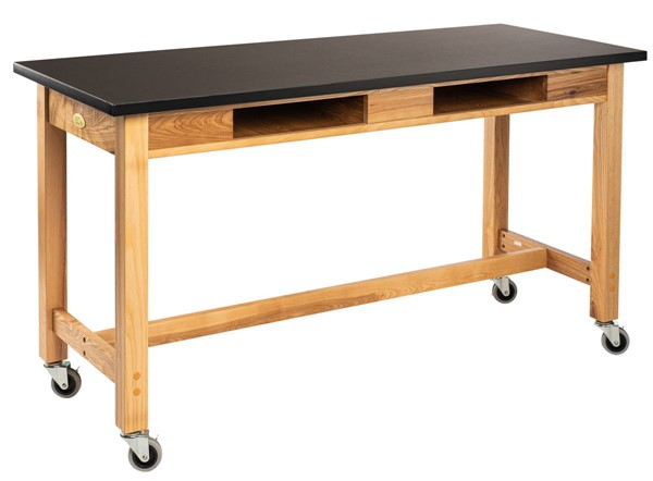 NPS Ash Black Rest Top Lab Table with Compartment and Casters - 24x60x30 NPS-SLT1-2460CBC